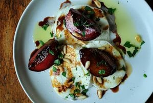 Buffalo Mozzarella with Balsamic Glazed Plums Pine Nuts and Mint
