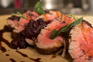 Coffee and Cocoa Rubbed Bison Tenderloin with Blueberry Shallot Chutney