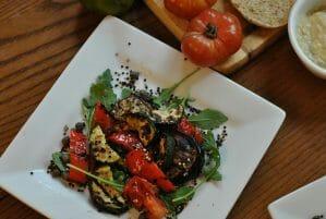 Grilled Ratatouille Salad with Crispy Quinoa