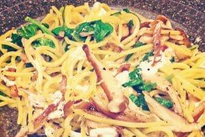 Shiitake Arugula Quinoa Spaghetti