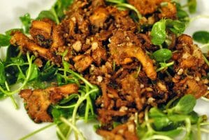 Warm Chanterelle Salad with Pea Shoots & Crispy Shallots