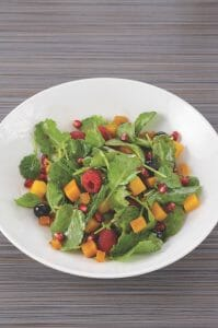 Baby Kale, Butternut Squash, Raspberry and Pomegranate Salad
