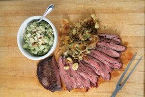 Flank Steak with Caramelized Onions and Roasted Garlic