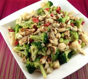 Asian Broccoli and Cauliflower Salad with Peanut Dressing