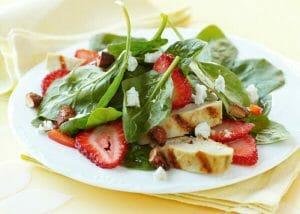Spinach Salad w/ Cinnamon Almonds, Strawberries & Goat Cheese