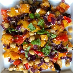 Greek Butternut Squash Salad with Chickpeas & Roasted Peppers